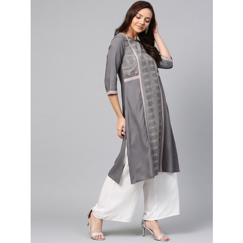 W Women Grey Woven Design A-line Kurta