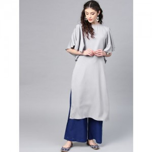 Shree Women Grey Solid Straight Kurta