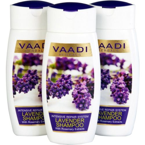 Vaadi Herbals Lavender Shampoo with Rosemary Extract - Intensive Repair System - Pack of 3(110 ml)
