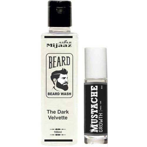 Aspar Mijaaz The Dark Velvette Beard Wash & Mustache Growth Roll-on Hair Oil Combo Pack(108 ml)