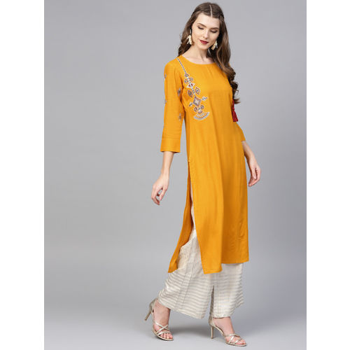 Yufta Women Mustard Yellow Solid Straight Kurta