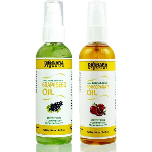 Donnara Organics 100% Pure Grapeseed oil and Pomegranate Oil Combo of 2 Bottles of 100 ml(200 ml) Hair Oil(200 ml)