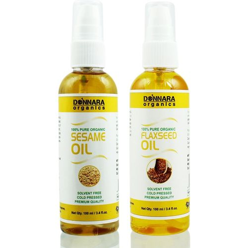Donnara Organics 100% Pure Sesame oil and Flaxseed oil Combo of 2 Bottles of 100 ml(200 ml) Hair Oil(200 ml)