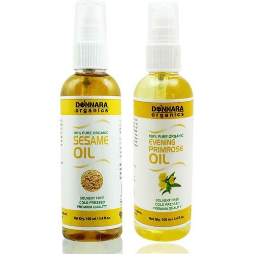 Donnara Organics 100% Pure Sesame oil and Evening Primrose oil Combo of 2 Bottles of 100 ml(200 ml) Hair Oil(200 ml)