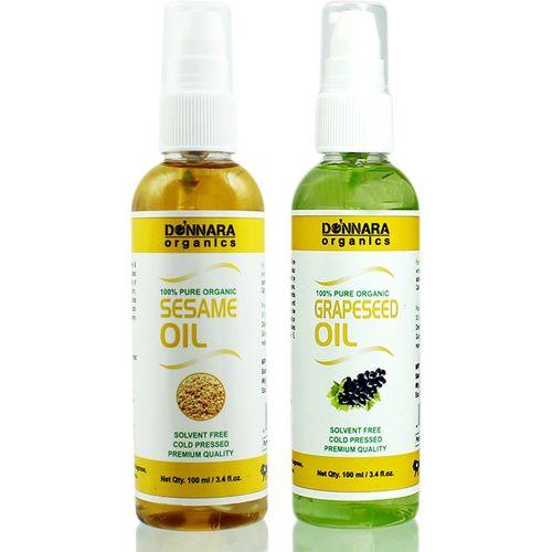 Donnara Organics 100% Pure Sesame oil and Grapeseed oil Combo of 2 Bottles of 100 ml(200 ml) Hair Oil(200 ml)