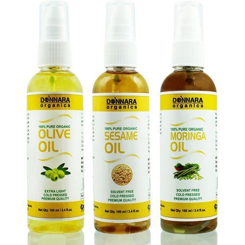 Donnara Organics Premium Olive oil, Sesame oil & Moringa oil Combo pack of 3 bottles of 100ml(300 ml) Hair Oil(300 ml)