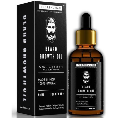 THE REAL MAN Beard Growth Oil. Mens Mustache & Beard Growth Oil,100% Natural & Organic, Conditioner & Softener for Men,50ml. Beard Care With Best Beard Oil -