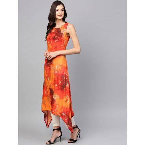 Shree Women Orange & Red Printed A-Line Kurta