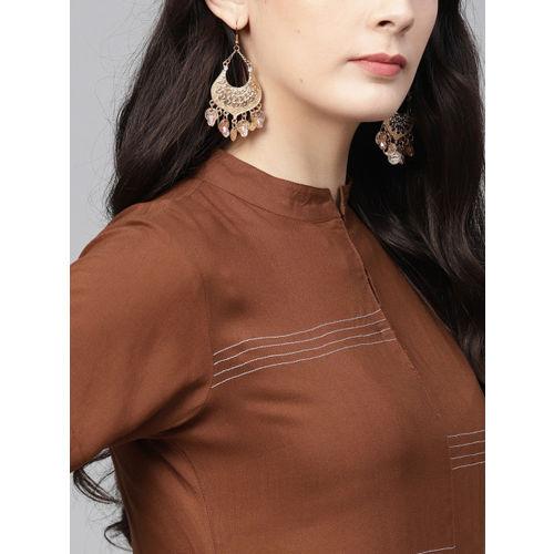 Ives Women Brown Solid Straight Kurta