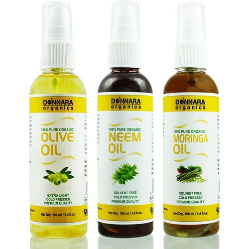 Donnara Organics Premium Olive oil, Neem oil & Moringa oil Combo pack of 3 bottles of 100ml(300 ml) Hair Oil(300 ml)