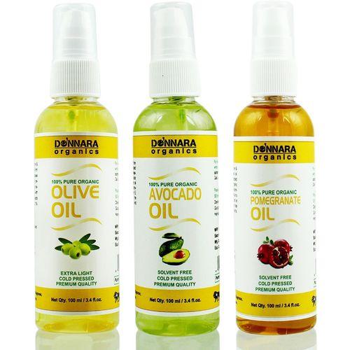 Donnara Organics Premium Olive oil, Avocado oil & Pomegrante oil Combo pack of 3 bottles of 100ml(300 ml) Hair Oil(300 ml)