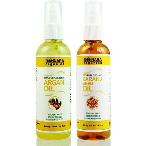 Donnara Organics 100% Pure Argan oil and Karanj oil Combo of 2 Bottles of 100 ml(200 ml) Hair Oil(200 ml)