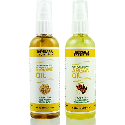 Donnara Organics 100% Pure Sesame oil and Argan oil Combo of 2 Bottles of 100 ml(200 ml) Hair Oil(200 ml)