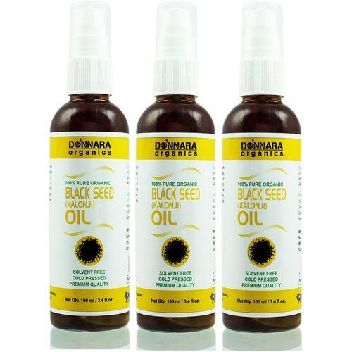 Donnara Organics Premium Black Seed(Kalonji) oil- 100% Pure & Natural Combo pack of 3 bottles of 100 ml(300 ml) Hair Oil(300 ml)