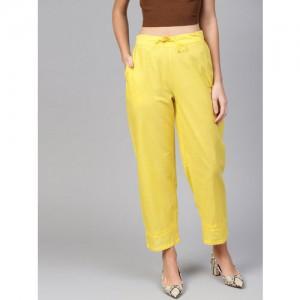 Juniper Women Yellow Straight Solid Palazzos