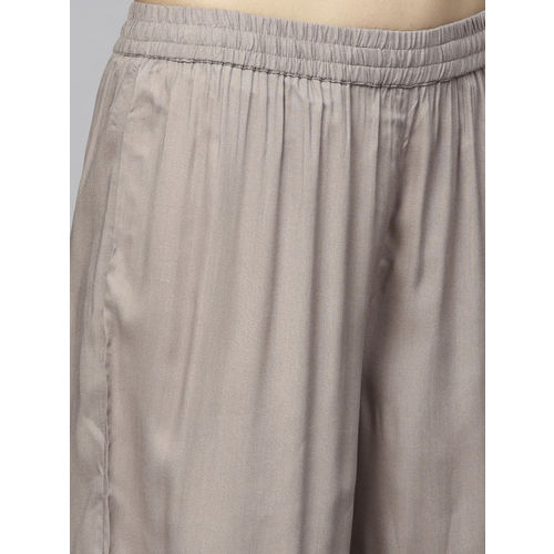 Juniper Women Grey Straight Leg Hem Design Palazzos