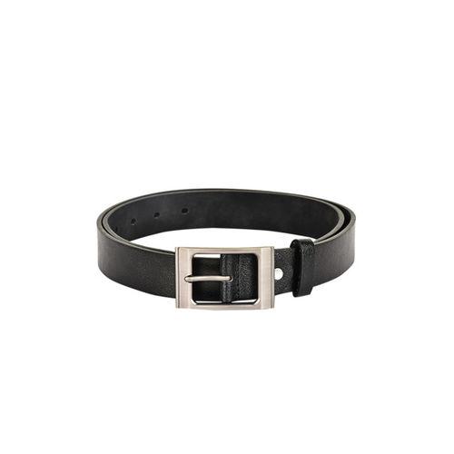 BuckleUp Men Black Solid Leather Belt