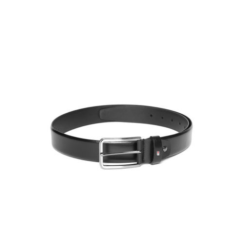 Tommy Hilfiger Men Black Leather Solid Belt