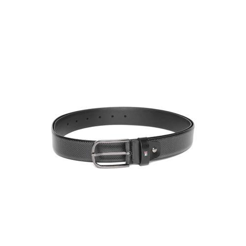 Tommy Hilfiger Men Black Leather Textured Belt