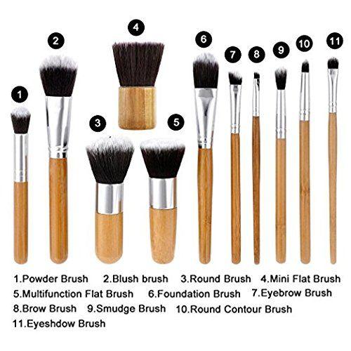 Foolzy 11Pcs Makeup Brush Set Professional Kabuki Foundation Blending Blush Concealer Eye Face Liquid Powder Cream Cosmetics Brushes Kit