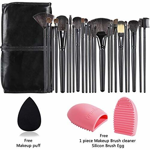 Start Makers ® Start Makers Makeup Set with Wood Brush Organizer Beauty Bleander, Sponge and Cleaner - 24 Pieces