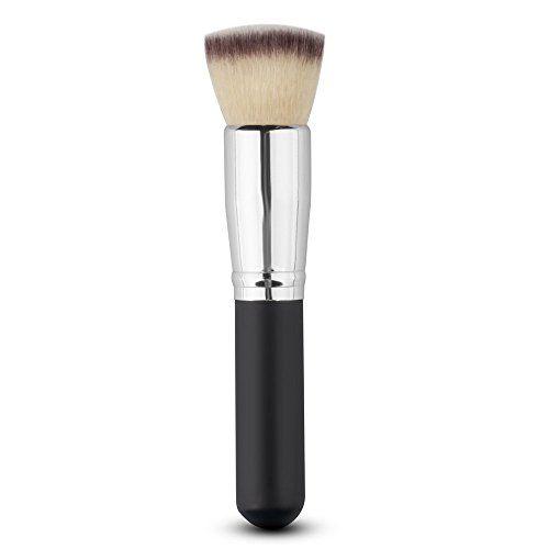 Generic Single PCS Foundation Blend Blush Brush with Powder Sponge Puff Makeup (Black/Silver)