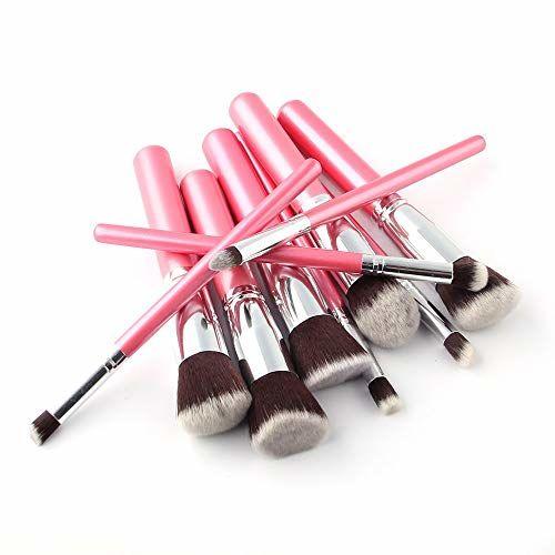 Lukzer 10 Pcs Makeup Brush Set (Pink) + 2 PC Sponge Makeup Blender (Free) Makeup Brush Kit