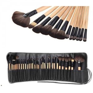 MANTRA Plastic Professional Makeup Brushes with Pouch Case , Black -Set of 24 Pieces