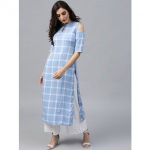 GERUA Blue Cotton Checked Cold Shoulder Straight Kurta