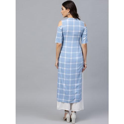 GERUA Blue Cotton Checked Cold Shoulder Straight Kurta