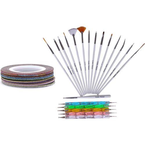 Looks United 15 Nail Art Brushes, 5 Dotting Tools, 5 Striping Tape Rolls(Multi)