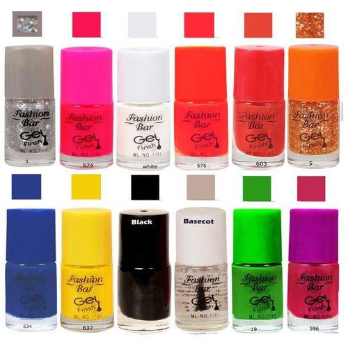 Fashion Bar Mazanta Nail Polish Combo Pack of 12 Mazanta(Pack of 12)