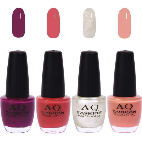 AQ Fashion Funky Vibrant Range of Colors Nail polish Plum,Sandwich Brown,Pearl White,Peaches Skin Color(Pack of 4)