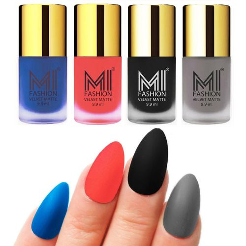 MI Fashion Premium Quality Dull Velvet Matte Nail Polish Duo Pont Flat Brush Exclusive Combo Navy Blue,Neon Orange,Black,Grey(Pack of 4)