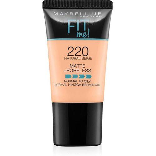 Maybelline Fit Me Matte+Poreless Liquid Foundation Tube, 220 Foundation(NATURAL BUFF)