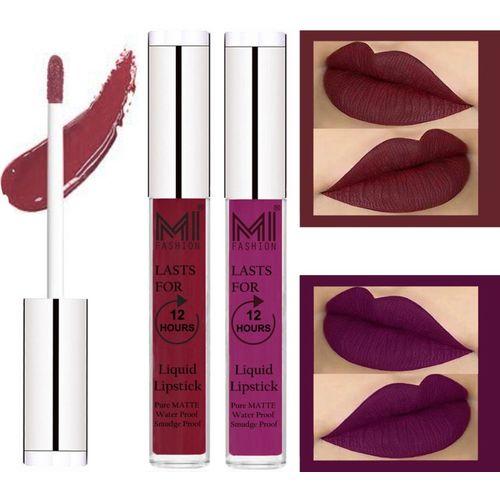 MI FASHION 100% Veg Matte Made in India Liquid Lip Gloss Lipstick Waterproof, Long Lasting Set of 2 -(6 ml, Red Mart Liquid Lipstick,Deep Violet Lip Gloss)