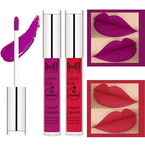 MI FASHION 100% Veg Matte Made in India Liquid Lip Gloss Lipstick Waterproof, Long Lasting Set of 2 -(6 ml, Wine Liquid Lipstick,Spring Pink Lip Gloss)