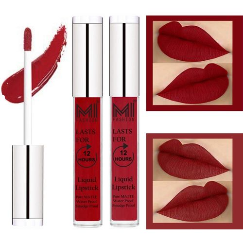 MI FASHION 100% Veg Matte Made in India Liquid Lip Gloss Lipstick Waterproof, Long Lasting Set of 2 -(6 ml, Eagle Red Liquid Lipstick,Together Red Lip Gloss)