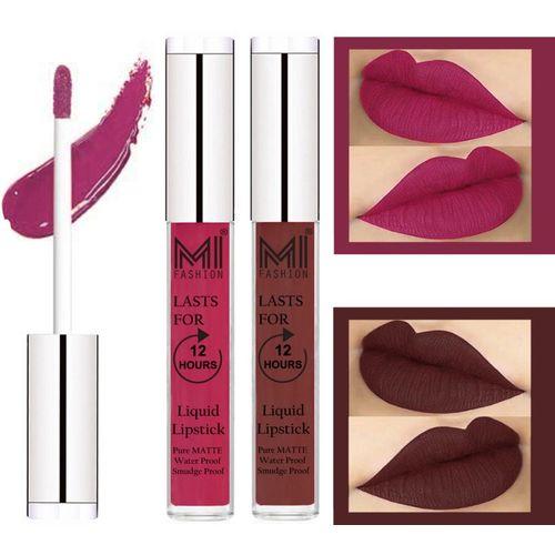 MI FASHION 100% Veg Matte Liquid Lip Gloss Lipstick Waterproof, Long Lasting Set of 2 -(6 ml, Pink Berry Berry Liquid Lipstick,Dark Brown Lip Gloss)