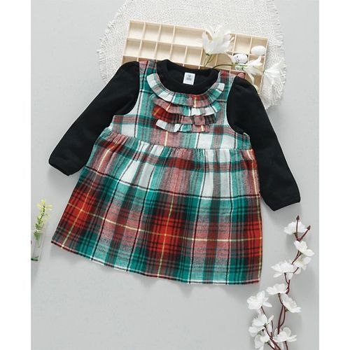ToffyHouse Checks Frocks With Inner Tee - Black Green