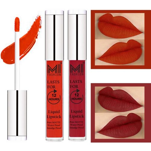 MI Fashion Professional Makeup Matte Liquid Lipstick Waterproof,Kiss Proof,Long Lasting and Made in India Set of 2(Orange Pulp Liquid Lipstick,Together Red