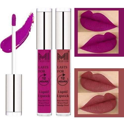 MI Fashion Matte Liquid Lipsticks Waterproof Long Lasting Pigmented Lip Gloss Set of 2(Wine Liquid Lipstick,Skin Color Liquid Lipstick)