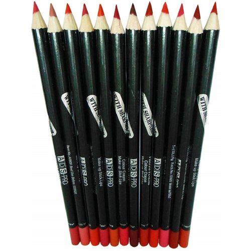 ADS Pro Photo Finish Large Size Lip Liner Pencil Set of 12(multicolour)