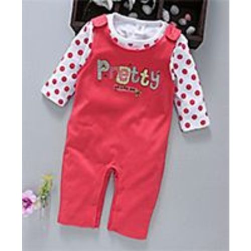 ToffyHouse Dungaree Style Romper With Tee Pretty Patch - Red White