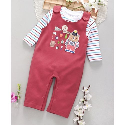 ToffyHouse Dungaree Style Romper With Tee Bear Print - Red