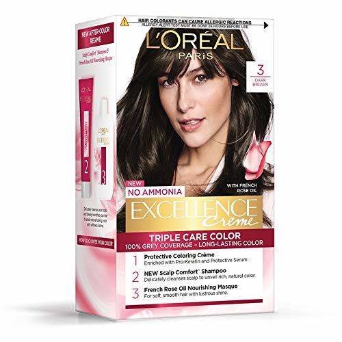 L'Oreal Paris Excellence Creme Hair Color, 3 Dark Brown/Natural Darkest Brown, 72ml+100g
