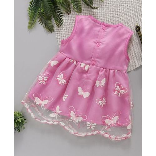 ToffyHouse Sleeveless Party Wear Frock Butterfly Embroidery - Pink
