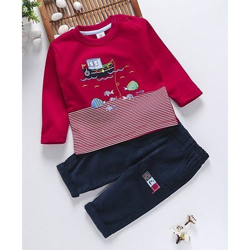 ToffyHouse Full Sleeves Top & Pant Set Boat Embroidery - Red & Navy