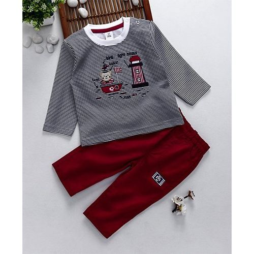 ToffyHouse Full Sleeves Striped Top & Pant Teddy & Lighthouse Embroidery - Navy & Maroon