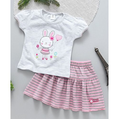 ToffyHouse Short Sleeves Top & Skirt Bunny Embroidery - Light Pink